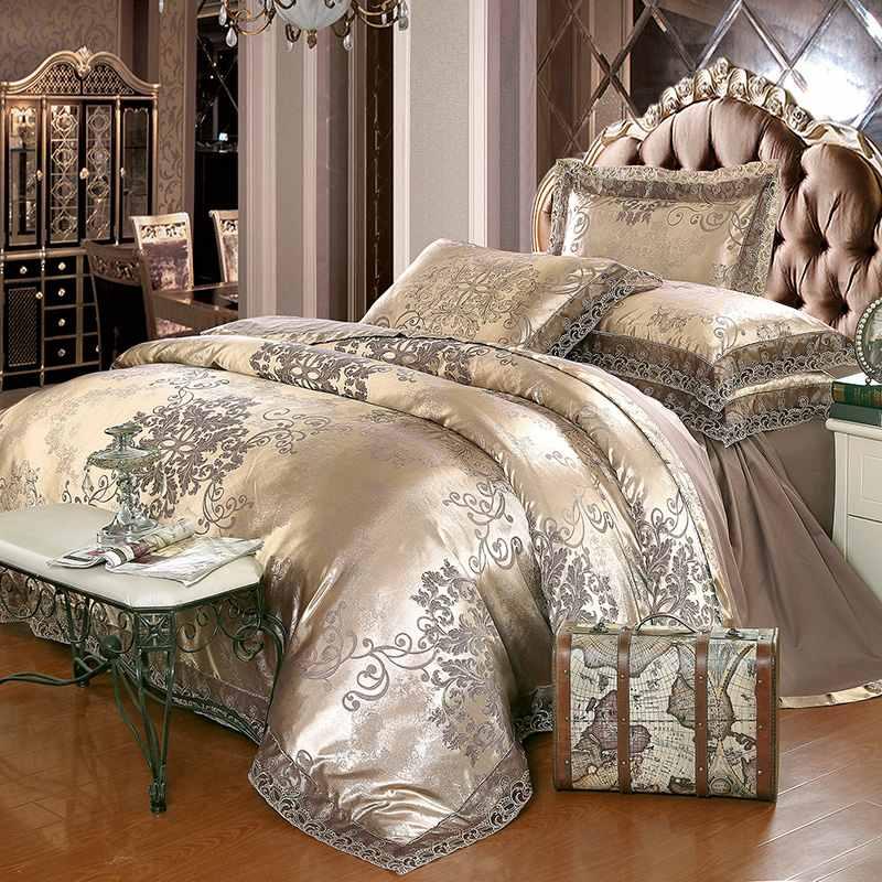 Whole Luxury Jacquard Bedding Set King Queen Size 4pcs Bed Linen Silk Cotton Duvet Cover Lace Satin Sheet Pillowcases