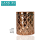 LXHY-J807 wholesale home decor bling color rose gold glass candle holder with lid