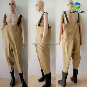 PVC Fishing Chest Waders with boots Made Waist High Waders Waterproof Anti-slip Boots water pants