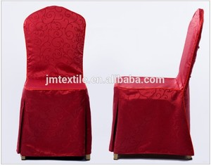 Factory universal jacquard red banquet decoration thick dining table polyester chair covers