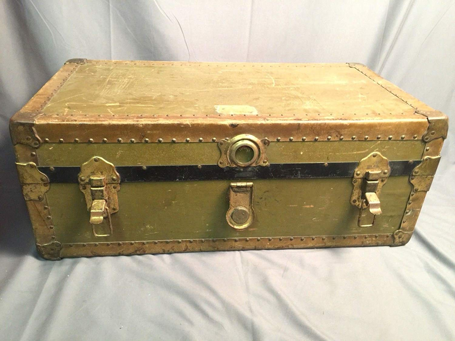 Steamer Trunk Vintage Leather Handle