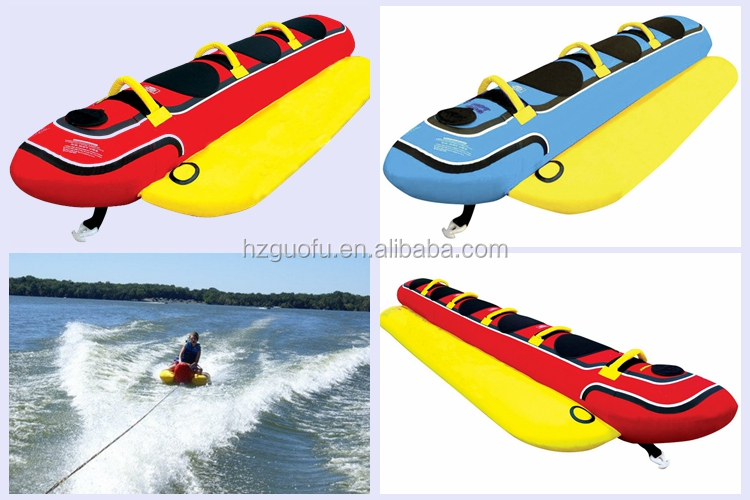 Custom  5 Rider Inflatable Towable Banana Tube Boat with Nylon Cover