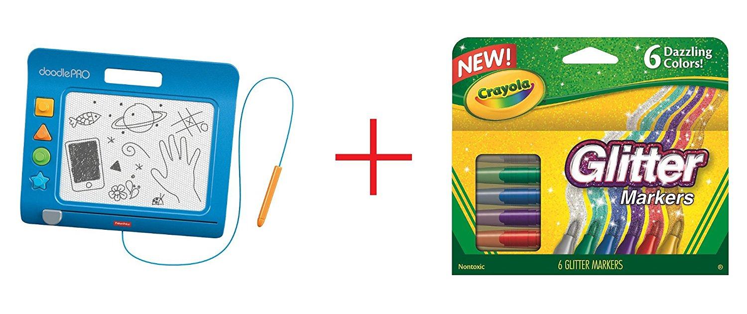 Fisher-Price DoodlePro Slim - Blue and Crayola 6-Count Glitter Markers - Bundle