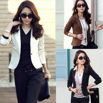 New Women One Button Long Sleeve Short Suit Blazer Dress Coat ...