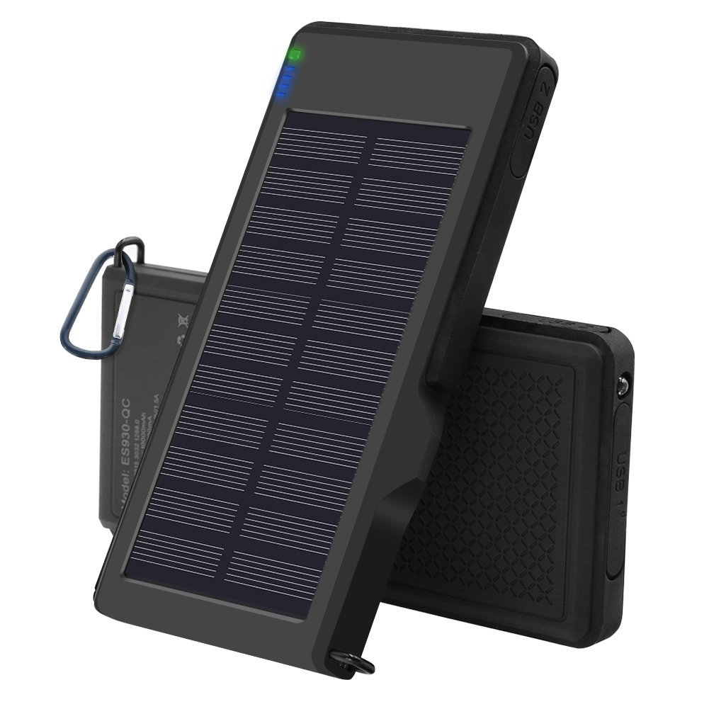 Solar Charger 10000mAh - VIGLT Portable Charger Quick Charge 3.0 Power Bank Solar phone Charger Dual USB Outdoor External Battery Waterproof for iPhone X 8 7 7s 6 Plus , Samsung Galaxy S7