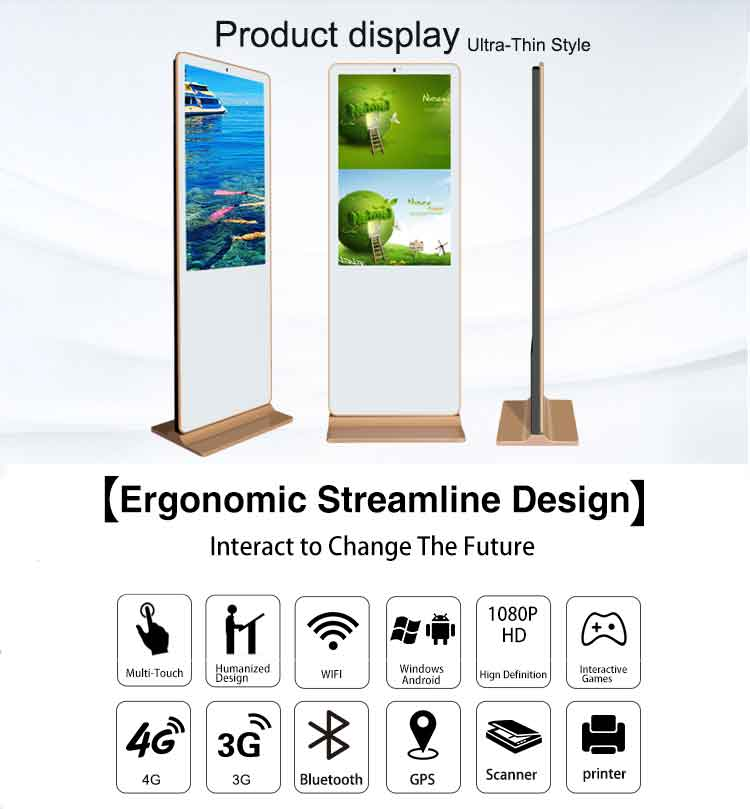 2018 New Model Portable Free Stand Advertising Display Digital Signage Kiosk