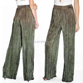 94f1adaa97 2017 pantalón de moda las mujeres líquido plisada de talle alto suelto  largo pantalón vaquero tejido