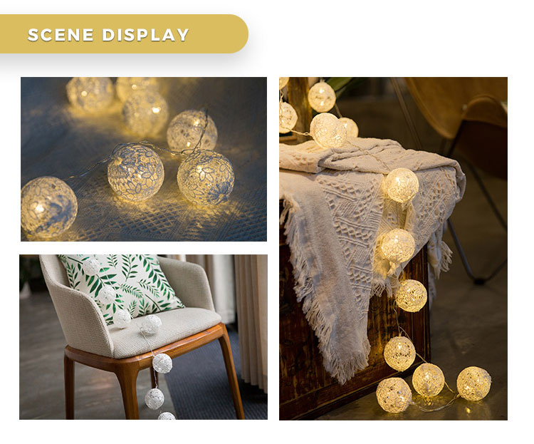 Indoor decoration battery powered led lace cotton ball string light