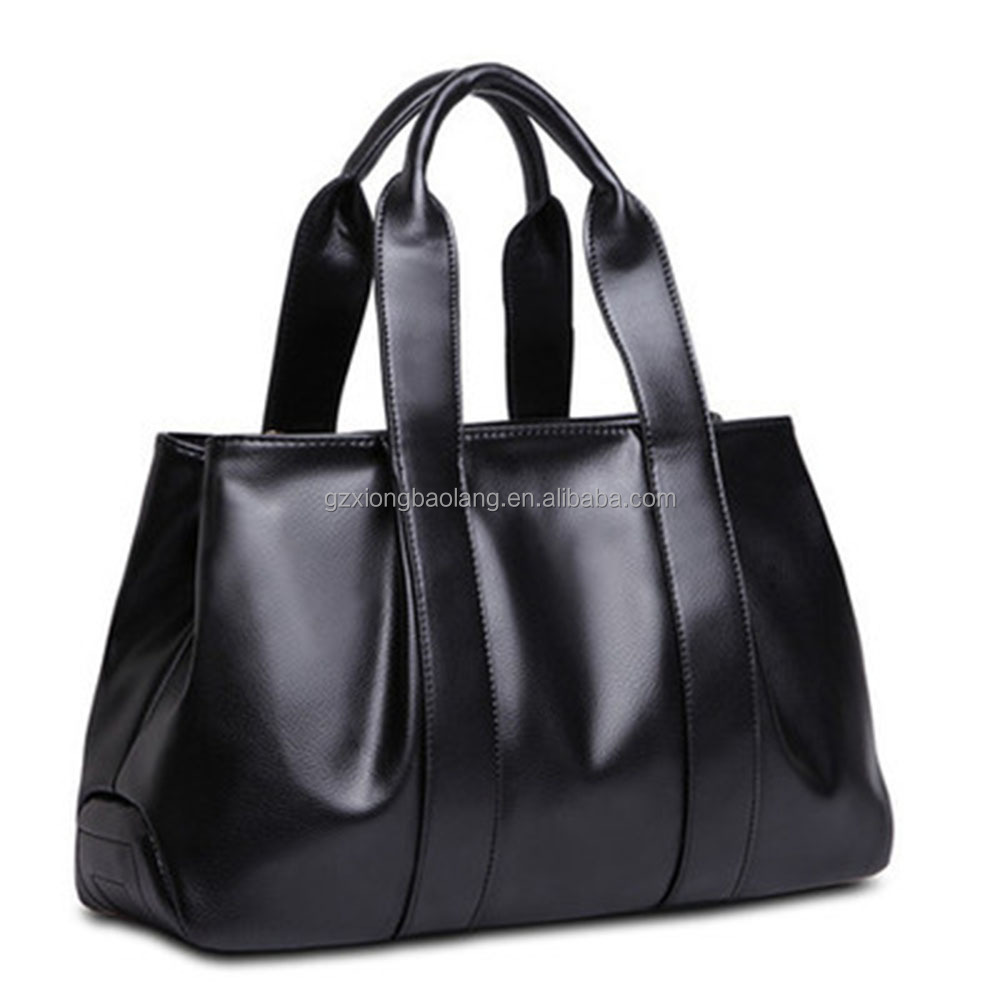 Guangzhou 2016 New Fashion Designer Black leather laptop bag PU/Genuine Leather lady handbag