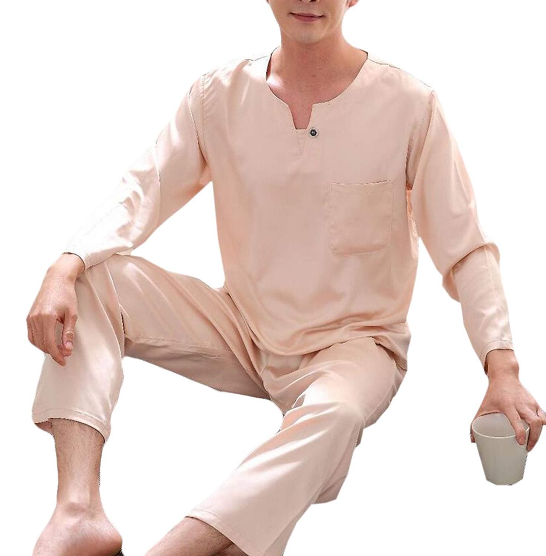 Pandapang Mens Comfortable 2 Pcs Thin Silk Sleepwear Lounge Satin Pajama Set