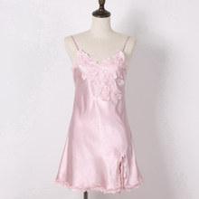 Женская ночная рубашка с цветочной вышивкой, на тонких бретельках, из искусственного шелка(Китай)