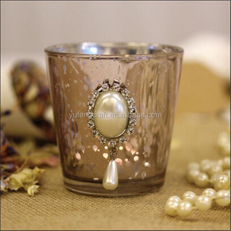 fuchsia pink mercury glass votive candle holder with diamante u0026 rhinestones for wedding tableware