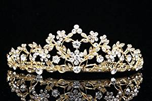 Floral Leaf Pageant Bridal Tiara Crown - Clear Crystals Gold Plating T660 by Venus Jewelry