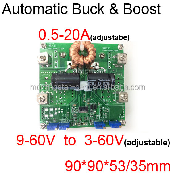 PCB manufacturer CC CV DC DC automatic step down/up buck/boost for solar Car battery MTTP charger 9-60V to 3-60V 12.6 VDC 20A
