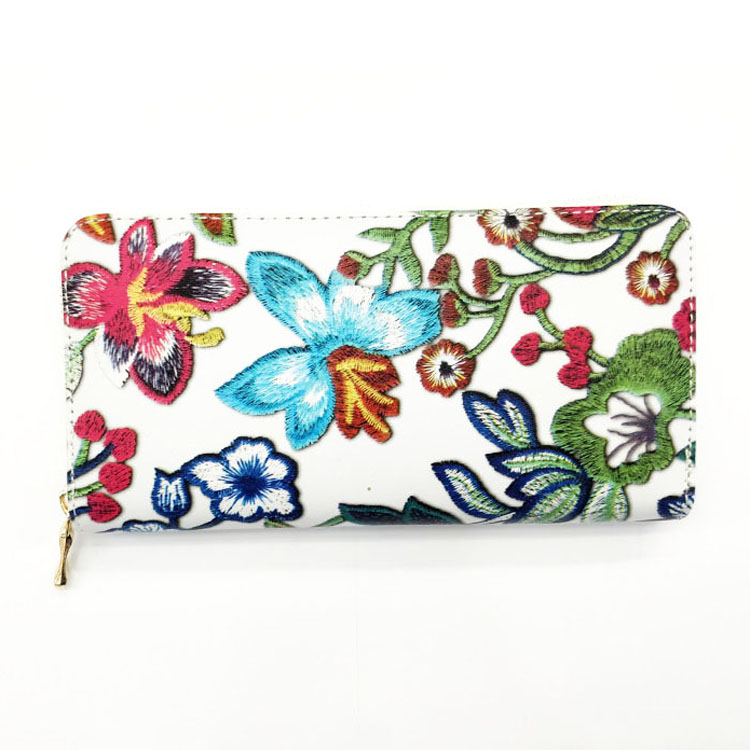2018 New Model Zip Around Women Flower Pattern Printed PU Wallets For Ladies