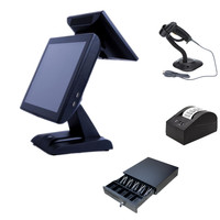 15 inch Double-screen Desktop POS terminal Cash register Windows 7 pos machine all in one