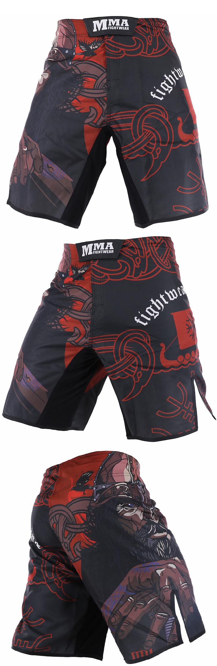 custom blank polyester sublimated free design mma fight shorts