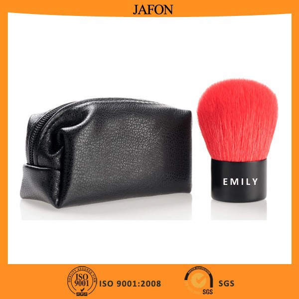 China supplier makeup red synthetic hair kabuki brush with PU zipper bag