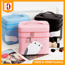 Custom Cute Portable 2 Layers Cosmetic Case Large Capacity Makeup Cosmetic Bag Pu Leather