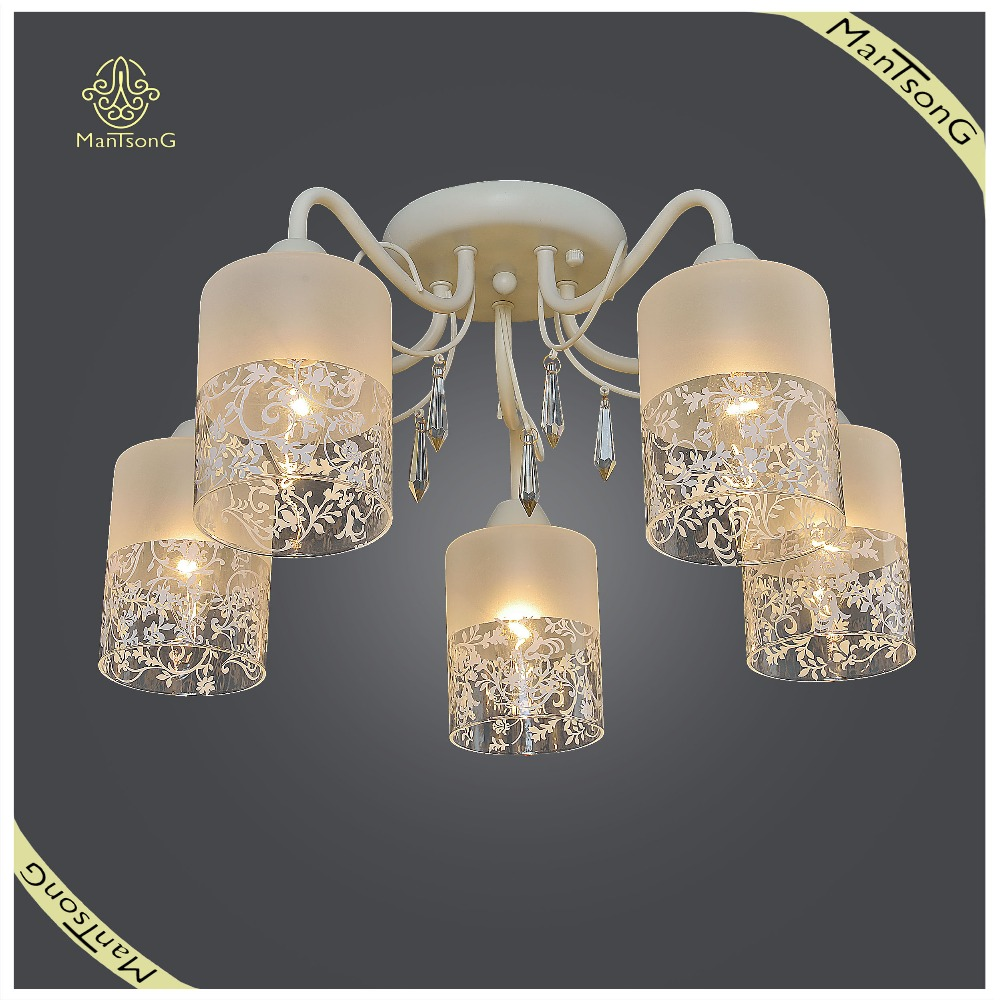 Classic Flower Printed Glass Shade Ceiling Lamp Crystal Hanging, Ceiling Lamp for Home and Hotel