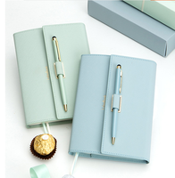 New Design Leather Cover gift book with gold stamp logo Hot color notebook with hot color pen