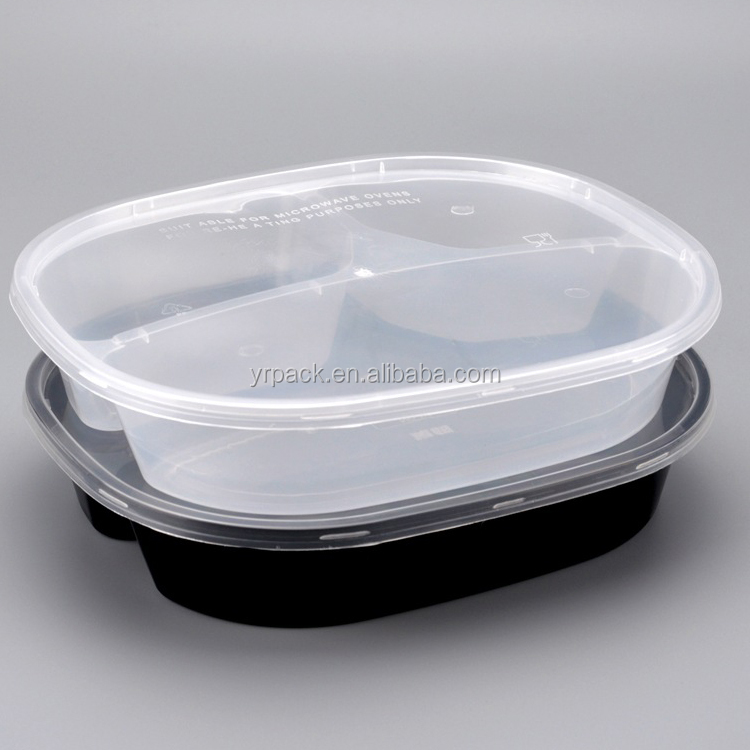 Microwave safe disposable school restaurant use 2 compartment plastic to go lunch box with lid