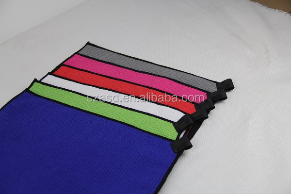 China manufacture microfiber pocket ,loop waffle weave golf towel