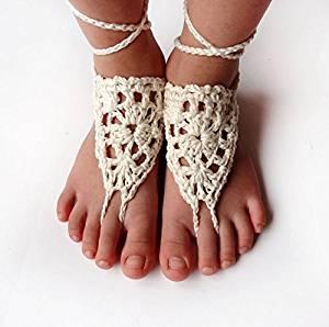 Ivory Crochet Sandals,Wedding Accessory,Sexy Beach Sandals, Crochet Barefoot Sandals, Destination Sandals , Crochet Anklet, Sexy Lace Sandals,Beach,Wedding Footwear, Bridesmaid Sandals (Iovry-03)
