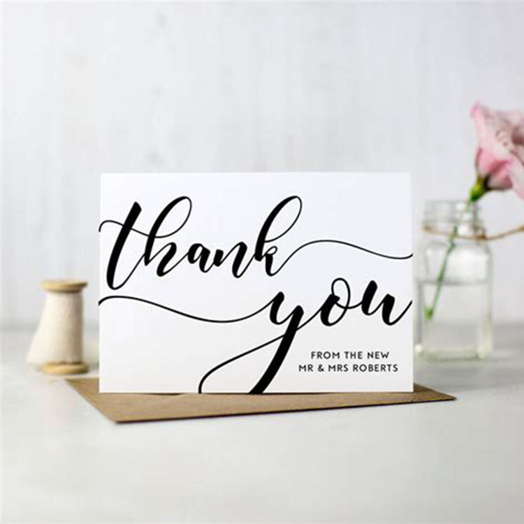 wholesale bulk flower white business embossed thank you cards