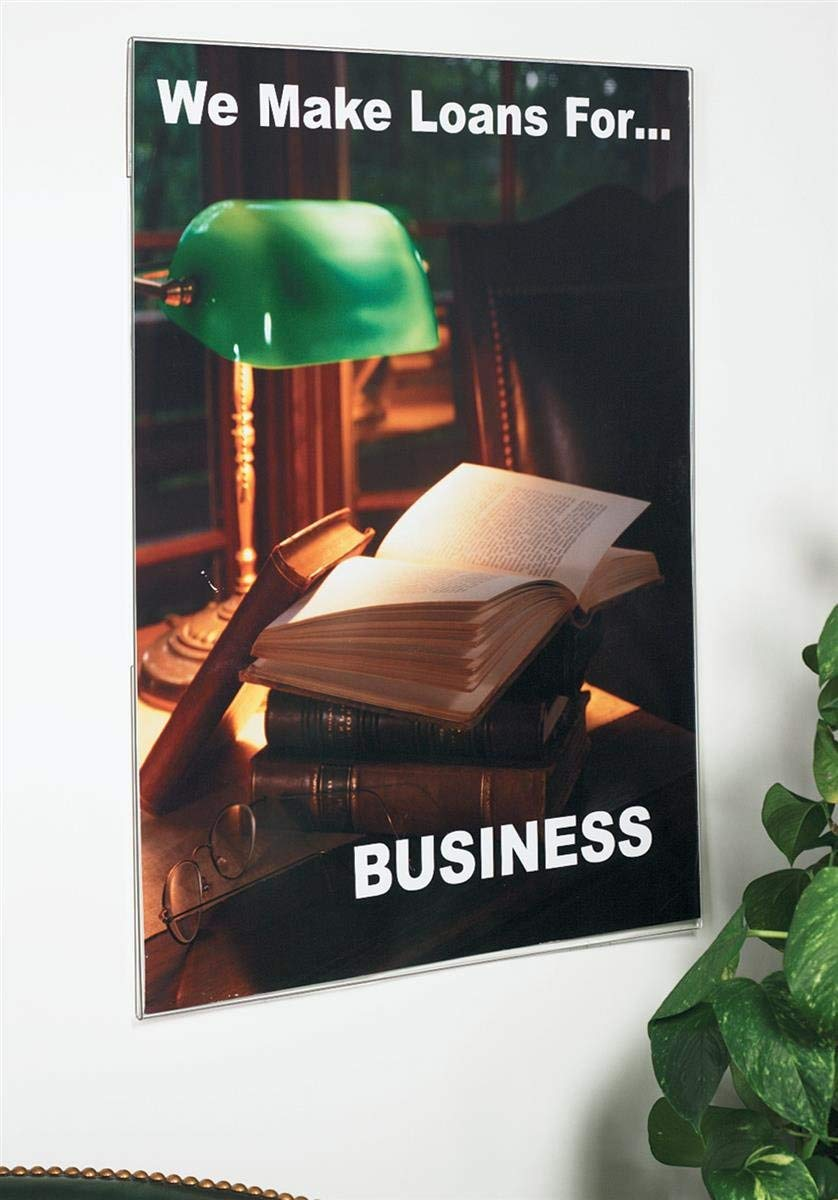 Displays2go Wall Mount Sign Holder for 24 x 36 Inches Poster, Clear Acrylic Frame with Slide-In Design, Mounting Hardware Included (WMPH2436)
