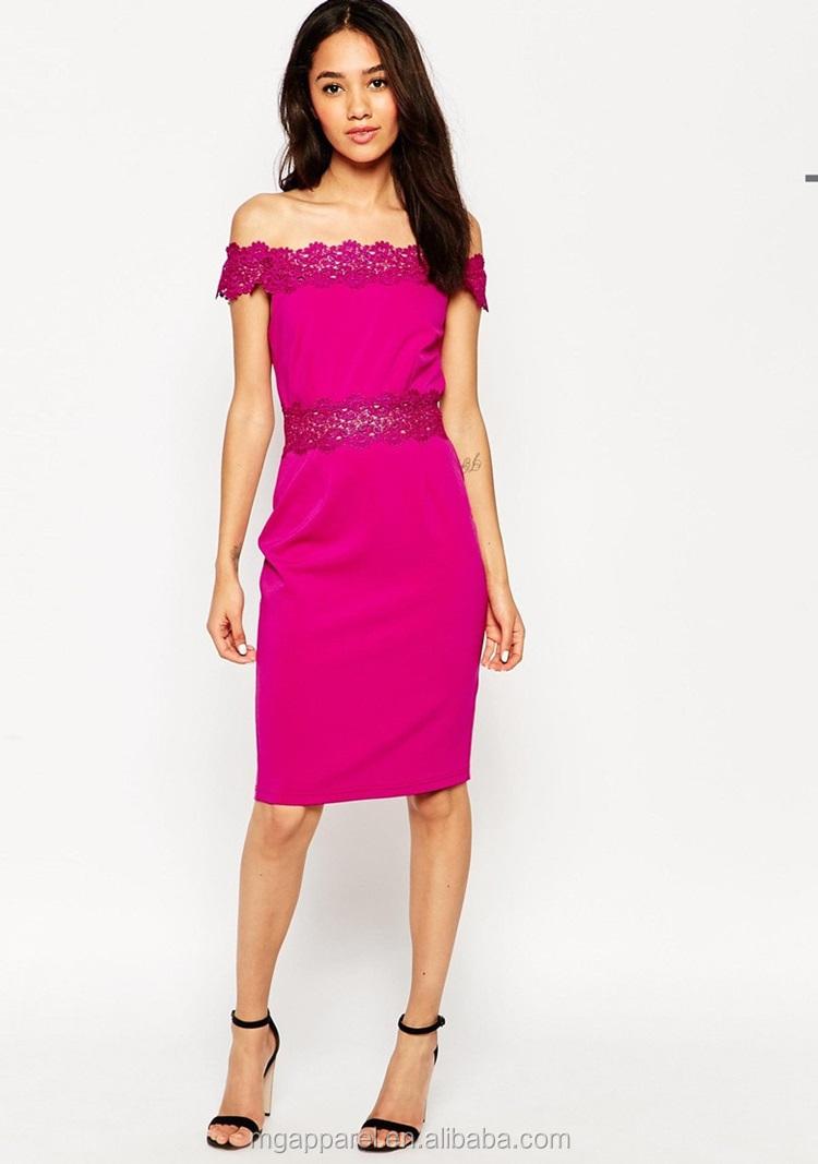 2015 El Último Diseño Vestido Señora Hombro Hot Pink Cordón Bardot ...