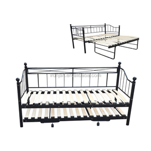 Modern Cheap Metal Frame Wrought Iron Sofa Day Bed With Trundle Bed Y