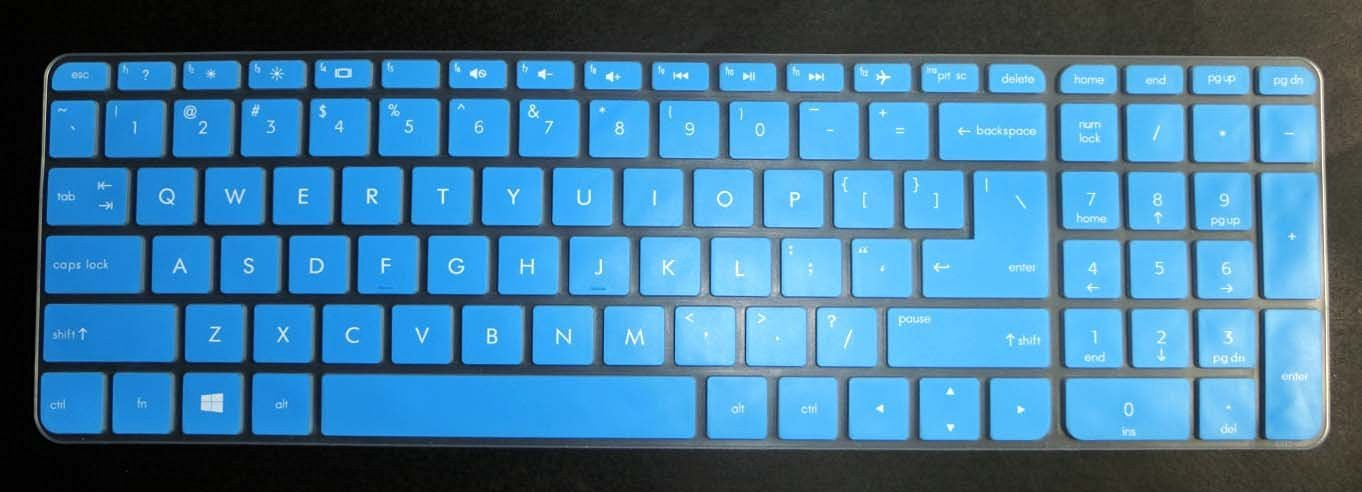 US layout Keyboard Protector Skin Cover for HP 15-ab*** 15-ac*** 15-ae*** 15-af*** 15-an*** 15-ak*** series, such as 15-ac121dx, 15-ab220nr, 15-af175nr, 15-af120nr, 15-an051dx, 15-ak020nr(semi-blue)