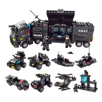 LELE BROTHER Best Selling 8 in 1 SWAT Command Car City Police Building Block Toys