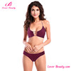 Fashion Red Wine Two Pieces Bikini Women Bathing Suit