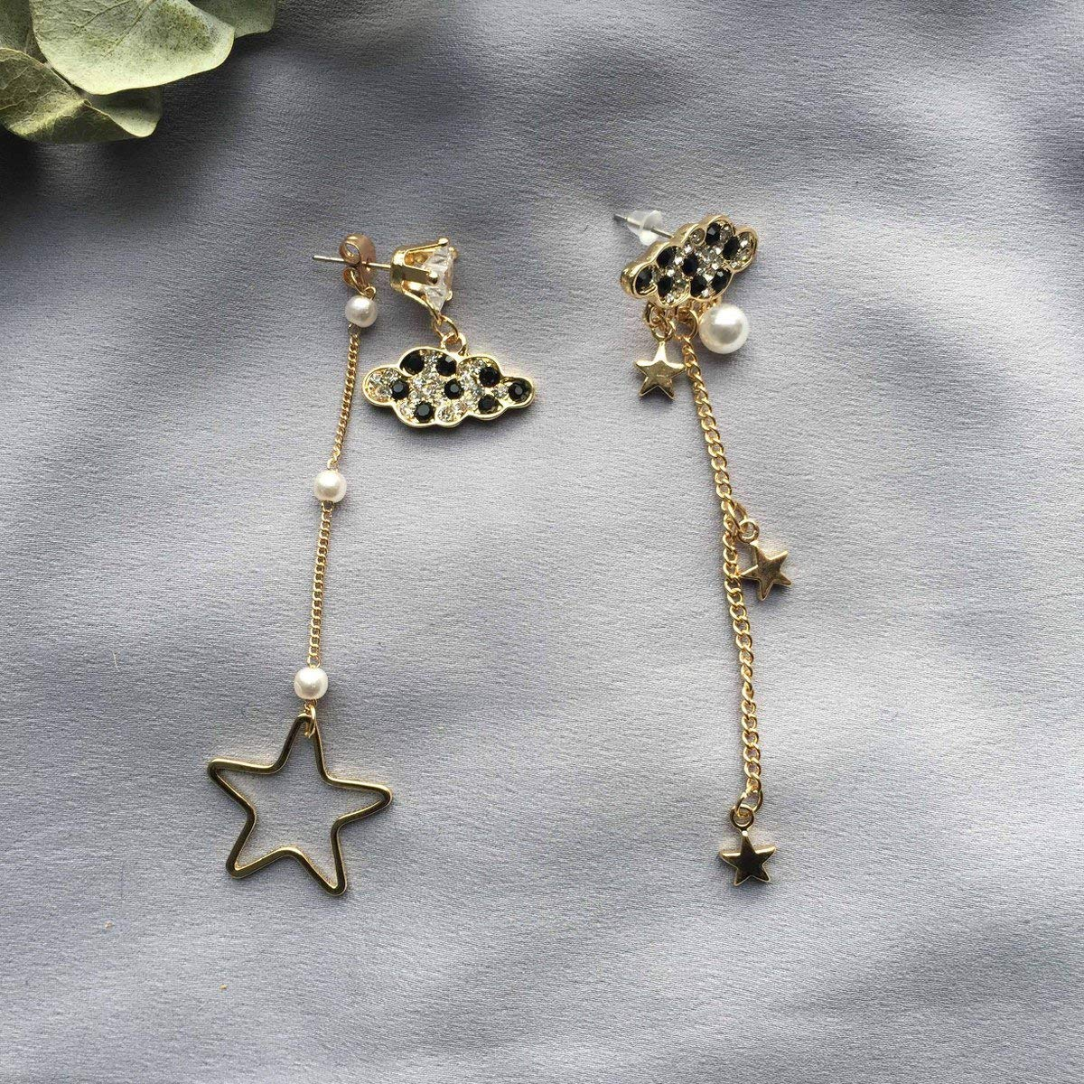 b66fb484999e Get Quotations · Dinner earrings long section luxury irregular five-pointed  star temperament Korean ladies lady earrings 2018