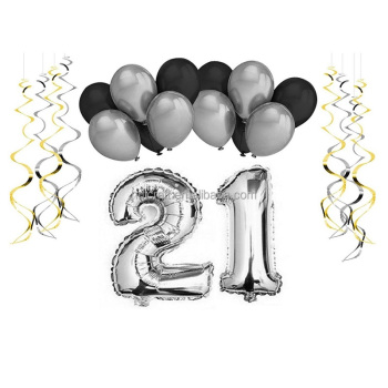 12 Inch Black Silver Latex Balloon Swirls Pack Birthday Decorations 21st Party