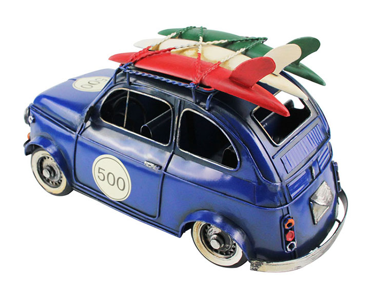 Metal Handmade Crafts Car Model Home Decor Ornaments Furnishing Articles(Blue Red Color)