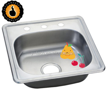 Insert Stainless Steel Sink For Kitchen With 3 Tap Holes Single Bowl YK4848