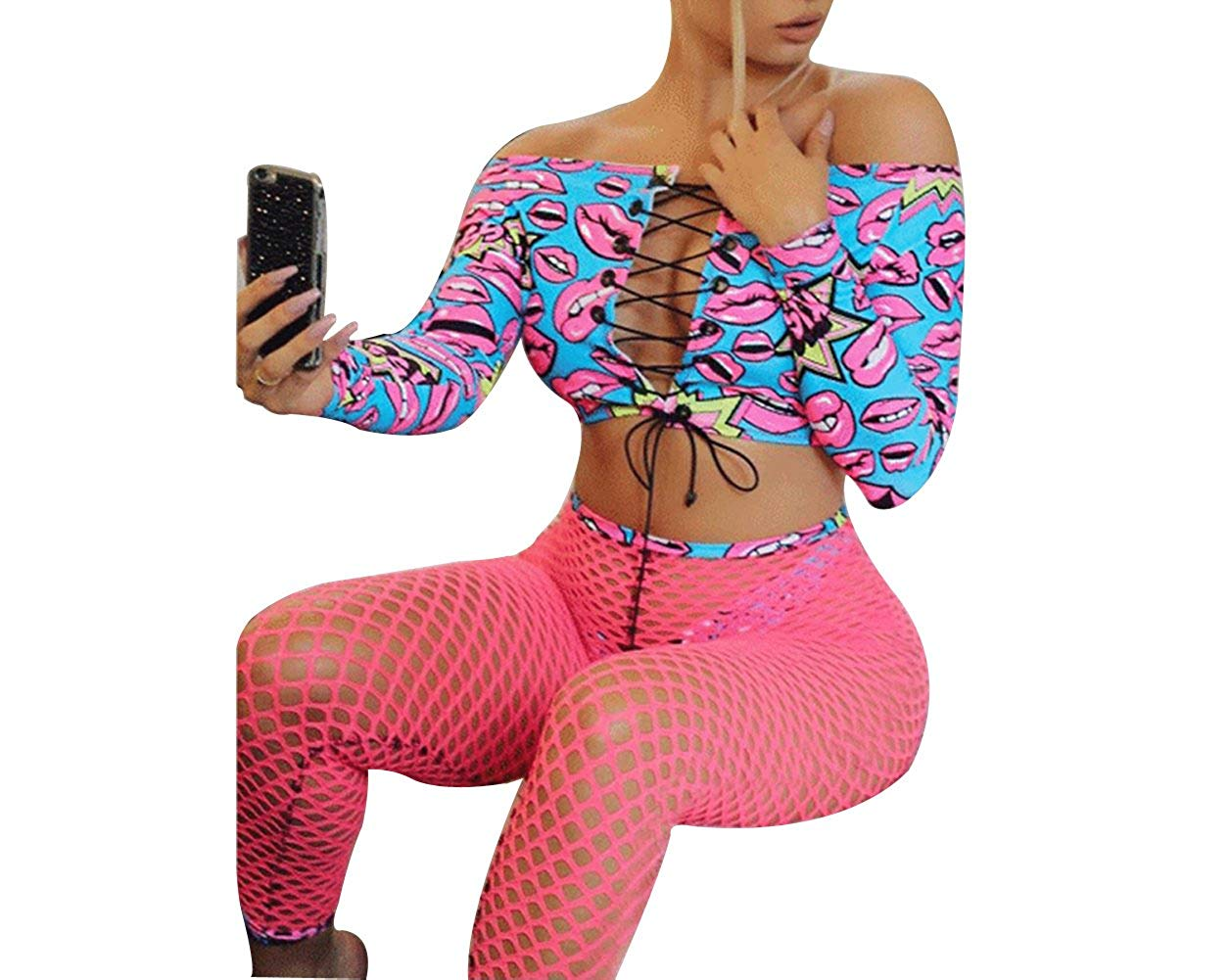 5c3e1a6237 Get Quotations · Women Sexy Lips Printed Off Shoulder Bikini Set + Fishnet  Pants 3Pcs Swimsuit Beachwear Fishnet Tights
