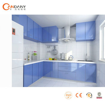 Modern Kitchen Cabinet European style  colored glass kitchen cabinet doors