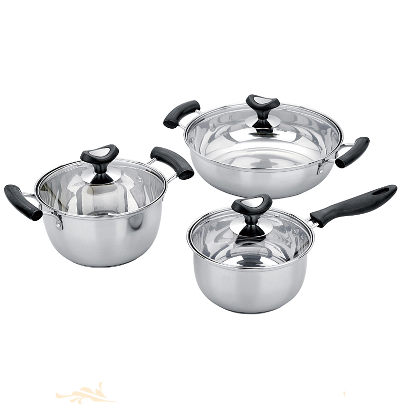 3 pcs stainless steel stock/cooking pot set