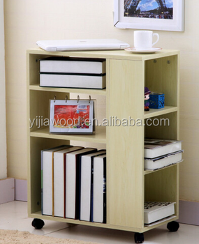 Modern Design Wooden Movable Bookshelf With Wheels