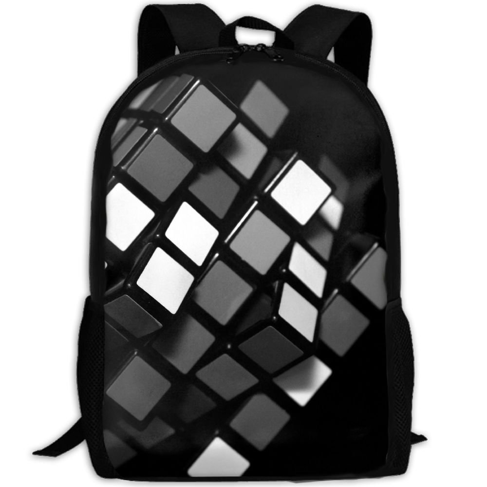 05a5553cf2 Get Quotations · Black Amazing Cube Adult Backpack College Daypack Oxford  Bag Unisex Business Travel Sports Bag