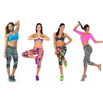 Womens Capri Workout Fitness Legging Yoga Pant Floral Black White Modern  Printed Exercise Gym Wear 18ad0804ea