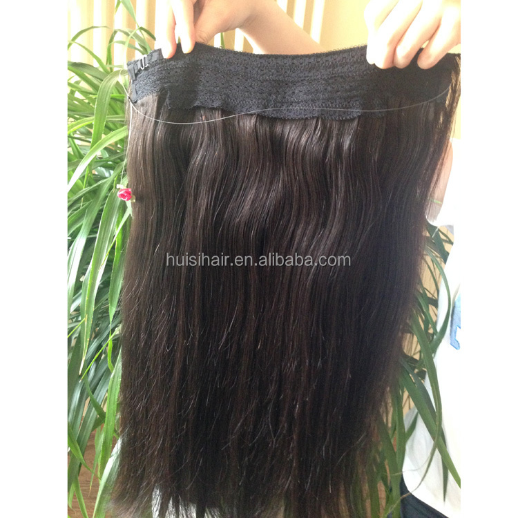 2017 New fashion sample order can be available wholesaler price natural color human halo hair extension