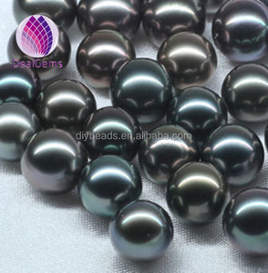 High quality 10 to 11mm loose half drilled natural black saltwater Tahitian pearls