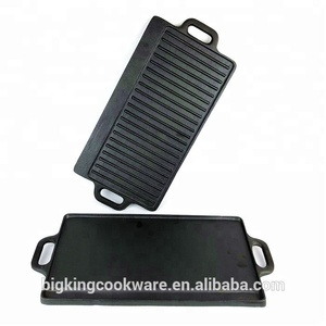 cast-iron cookware enamel cast iron grill pan ,rectangle 43*23cm