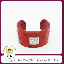 Extra Wide Red Belt Leather Bangles wrapped genuine leather with square crystal charm Women bangle