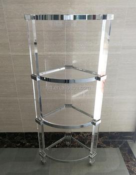 new style acrylic 3 layers corner shelf bathroom acrylic corner rh alibaba com lucite corner shelves